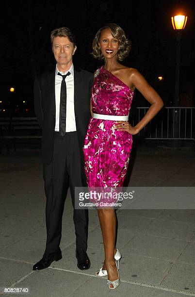 Musician David Bowie and model Iman arrive at the Vanity Fair party for the 2008 Tribeca Film Festival held at the State Supreme Courthouse on April...
