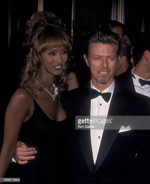 Musician David Bowie and model Iman attend 13th Annual Council of Fashion Designers of America Awards on February 7 19934 at New York State Theater...