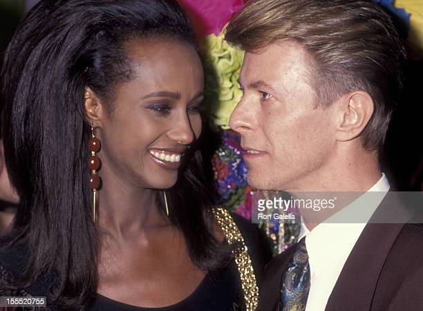 Musician David Bowie and model Iman attend Seventh on Sale AIDS Benefit on November 29 1990 at the Armory in New York City