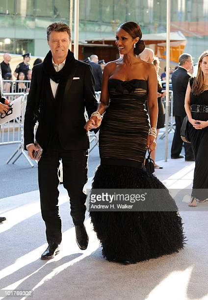 Musician David Bowie and model Iman attend the 2010 CFDA Fashion Awards at Alice Tully Hall at Lincoln Center on June 7 2010 in New York City