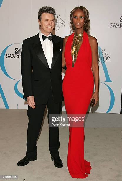 Musician David Bowie and model Iman attend the 25th Anniversary of the Annual CFDA Fashion Awards held at the New York Public Library on June 4 2007...