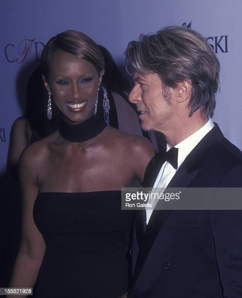 Musician David Bowie and model Iman attends 21st Annual Council of Fashion Designers of America Awards on June 3 2002 at the New York Public Library...
