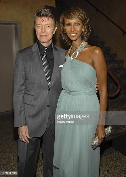NEW YORK OCTOBER 25 Musician David Bowie and Model Iman inside Conde Nast Media Group's 4th Annual 'Black Ball' Concert for 'Keep A Child Alive' at...