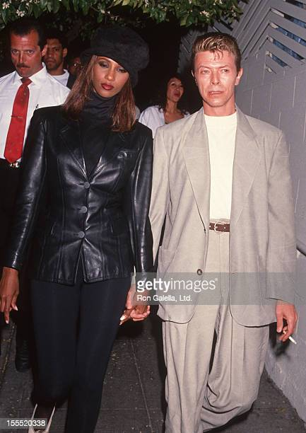 Musician David Bowie and model Iman sighted on April 4 1991 at Spago Restaurant in West Hollywood California