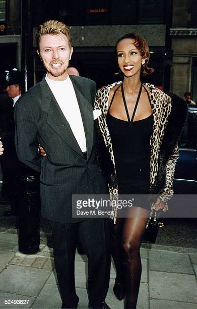 Musician David Bowie and wife Iman at his art show on April 20 1995 in London