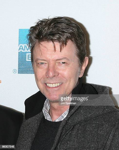 Musician David Bowie attends the premiere of 'Moon' during the 8th Annual Tribeca Film Festival at BMCC Tribeca Performing Arts Center on April 30...