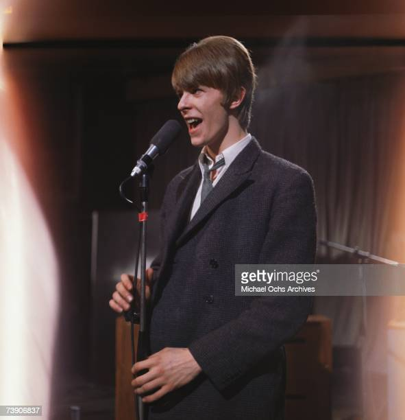 Musician David Bowie performs on the TV show 'Ready Steady Go' on March 4 1966 in London England
