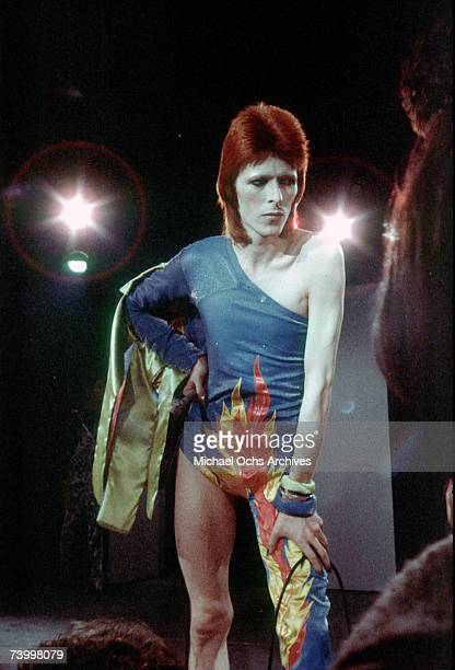 Musician David Bowie performs onstage during his Ziggy Stardust era in 1973