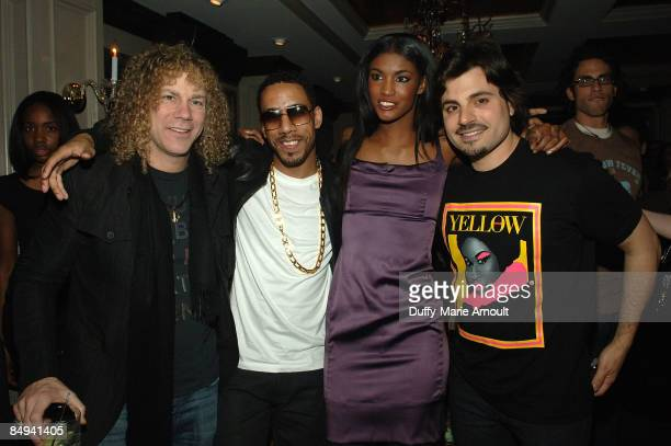 Musician David Bryan singer Ryan Leslie Victoria's Secret model Sessilee Lopez and designer Jamison Ernest attend the Yellow Fever launch party at...