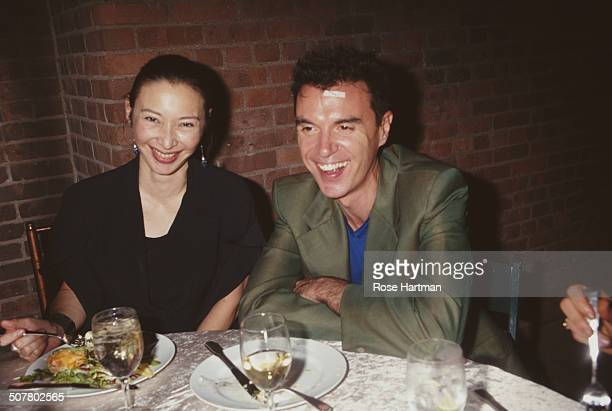 Musician David Byrne and costume designer model and actress Adelle Lutz at the 'Creative Times Year of Innovative Fashion' event 1997