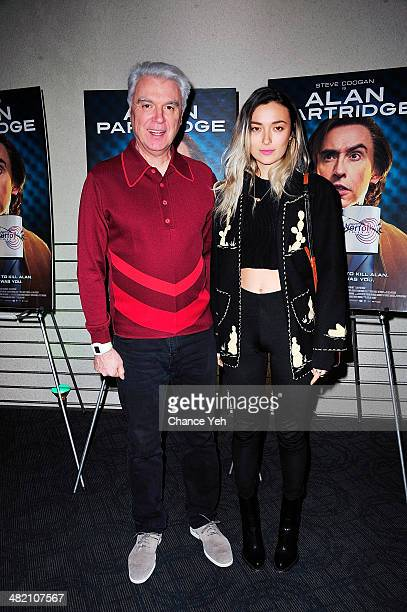 Musician David Byrne and Malu Byrne attends the Alan Partridge New York screening reception on April 2 2014 in New York City
