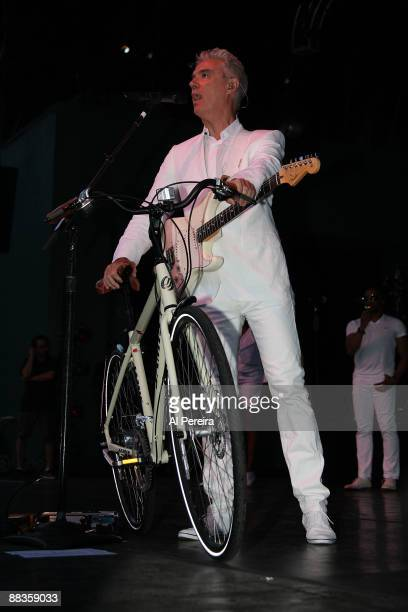 Musician David Byrne helps raffle off a bicycle to introduce the new valet bicycle parking area during the opening night of the 31st Celebrate...