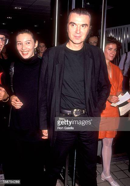 Musician David Byrne of Talking Heads and wife Adelle Lutz attend the Light Sleeper New York City Premiere on August 18 1992 at City Cinemas Cinema 1...