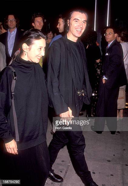 "Musician David Byrne of Talking Heads and wife Adelle Lutz attend the ""Light Sleeper"" New York City Premiere on August 18, 1992 at City Cinemas..."