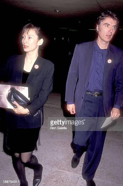 Musician David Byrne of Talking Heads and wife Adelle Lutz attend The Silence of the Lambs Century City Premiere on February 1 1991 at Cineplex Odeon...