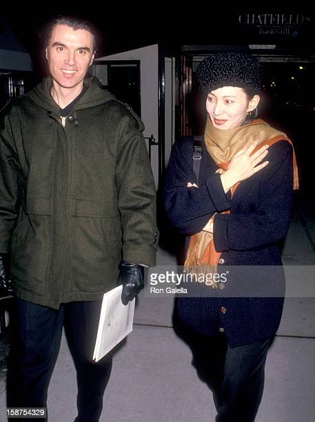 "Musician David Byrne of Talking Heads and wife Adelle Lutz attend ""The Dead"" New York City Premiere on December 16, 1987 at City Cinemas Cinema 1 in..."