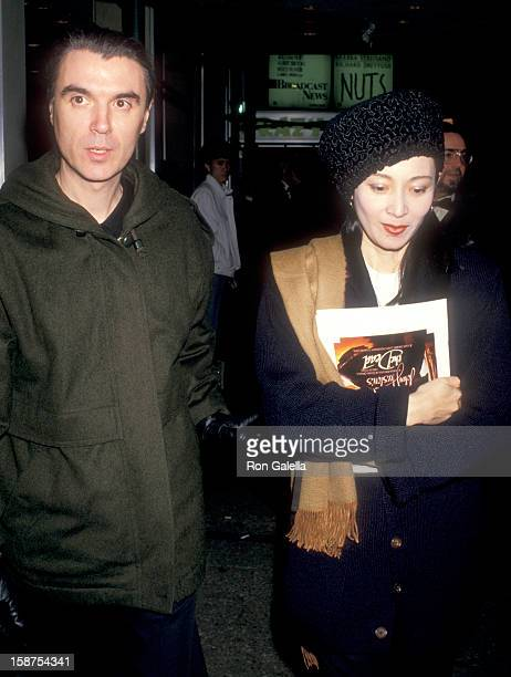 Musician David Byrne of Talking Heads and wife Adelle Lutz attend The Dead New York City Premiere on December 16 1987 at City Cinemas Cinema 1 in New...