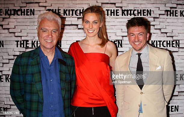 Musician David Byrne Selby Drummond and Matthew Doull attend The Kitchen Spring Gala Benefit 2013 at Capitale on May 7 2013 in New York City