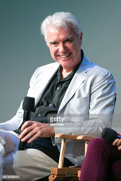 Musician David Byrne speaks about his musical Here Lies Love at the Apple Store Soho on October 25 2014 in New York City