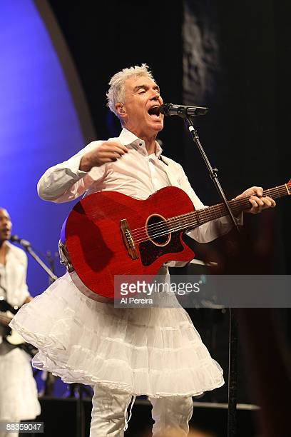 Musician David Byrne wears a tutu during an encore performance of the Talking Heads song Burning Down The House at opening night of the 31st...