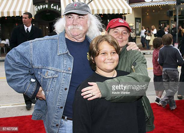 Musician David Crosby and his wife Jan and son Django arrive at the premiere of Columbia Picture's RV at the Village Theater on April 23 2006 in Los...