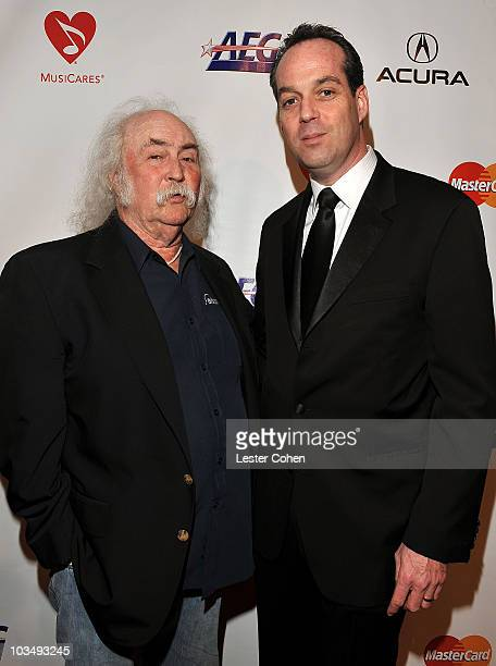 Musician David Crosby and MusiCares Foundation Board Chair and President Time Inc Entertainment Group Paul Caine arrive at 2010 MusiCares Person Of...
