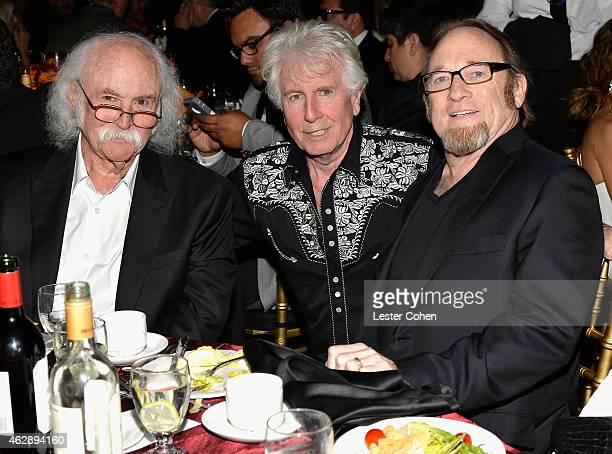 Musician David Crosby Graham Nash and Stephen Stills attend the 25th anniversary MusiCares 2015 Person Of The Year Gala honoring Bob Dylan at the Los...