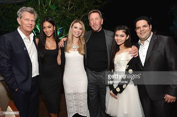 Musician David Foster singer Nicole Scherzinger singer Sandra Lynn Larry Ellison singer Myra and singer Fernando Varela attend The Israeli Consulate...