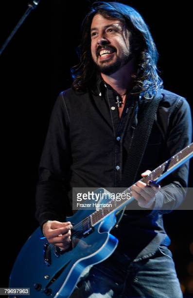 Musician David Grohl of the Foo Fighters performs onstage during the 50th annual Grammy awards held at the Staples Center on February 10 2008 in Los...