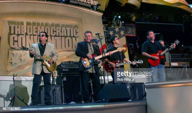 Musician David Hidalgo performs with members of 'Los Lobos' at the Democratic National Convention in Los Angeles on August 17 2000 in Los...