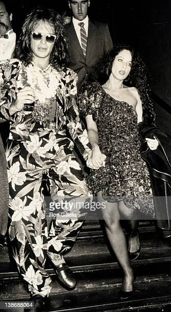 Musician David Lee Roth and actress Sonia Braga departing the 2nd Annual MTV Video Music Awards on September 13 1985 at The Palladium in New York...