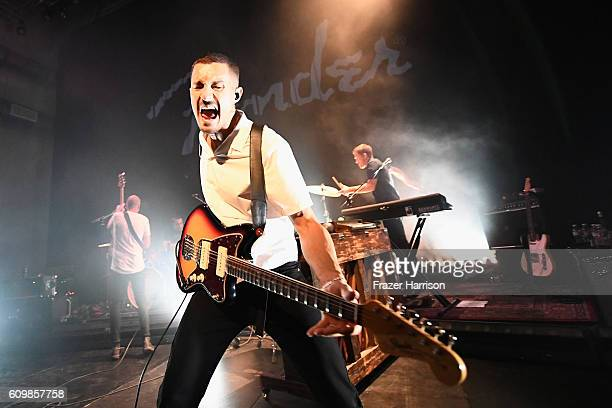 Musician David Quon of Colf War Kids performs onstage during the Fender Hollywood office Grand Opening with exclusive performances By Cold War Kids...