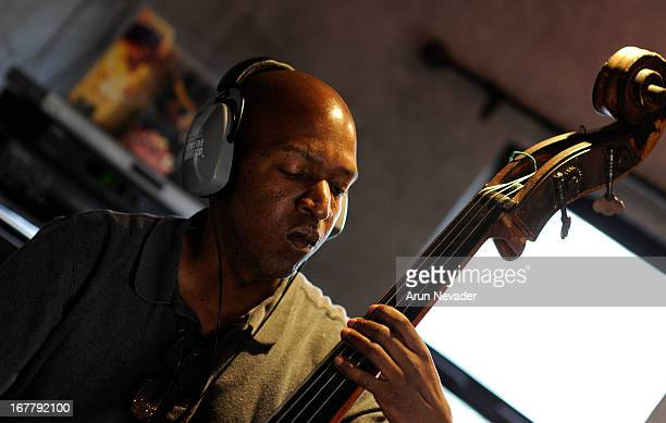 Musician Del Atkins records bass during the Kaylene Peoples My Man Recording Session with Hubert Laws at The Mouse House Studio on April 29 2013 in...