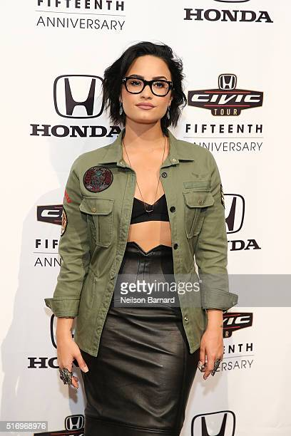 Musician Demi Lovato attends the 2016 Honda Civic Tour Artists Announcement and Honda Civic North America Launch Event at the Garage on March 22 2016...