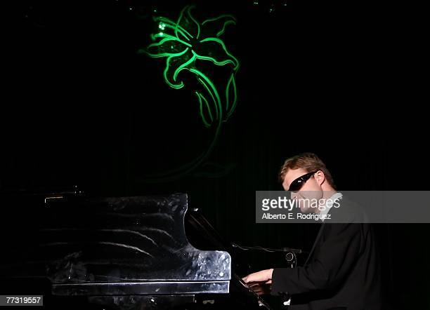 Musician Derek Paravicini performs during the Lili Claire Foundation 10th annual benefit dinner and auction held at the Hyatt Regency Century Plaza...