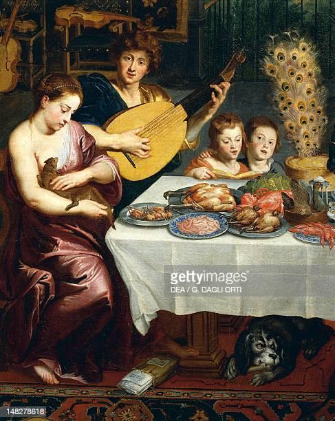 Musician detail from the Allegory of the four elements by Jan Brueghel the Elder Velvet Bruegel Madrid Museo Del Prado