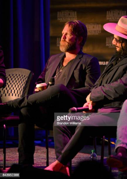 Musician Devon Allman and producer Don Was on stage at the Southern Blood Celebrating Gregg Allman panel at The GRAMMY Museum on September 7 2017 in...