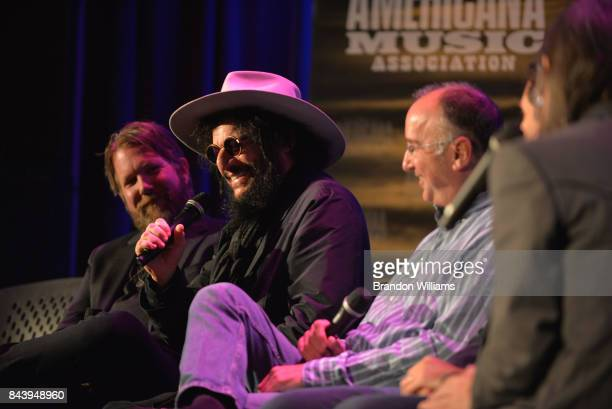 Musician Devon Allman producer Don Was and manager Michael Lehman on stage at the Southern Blood Celebrating Gregg Allman panel at The GRAMMY Museum...