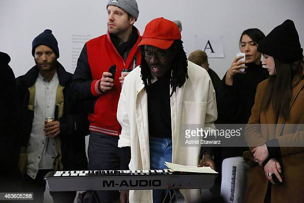 Musician Devonte 'Dev' Hynes attends Eckhaus Latta Front Row during MADE Fashion Week Fall 2015 on February 16 2015 in New York City
