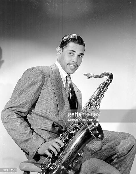 Musician Dexter Gordon poses for a portrait with his saxophone on July 12 1947 in Los Angeles California