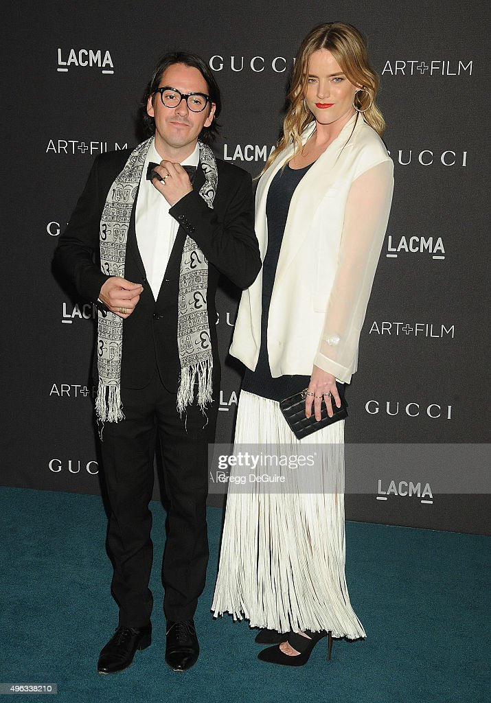 Musician Dhani Harrison (L) and wife Solveig 'Sola' Karadottir arrive at the LACMA 2015 Art+Film Gala Honoring James Turrell And Alejandro G Inarritu, Presented By Gucci at LACMA on November 7, 2015 in Los Angeles, California.