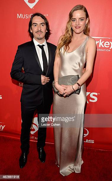 Musician Dhani Harrison and wife Solveig 'Sola' Karadottir attend the 25th anniversary MusiCares 2015 Person Of The Year Gala honoring Bob Dylan at...