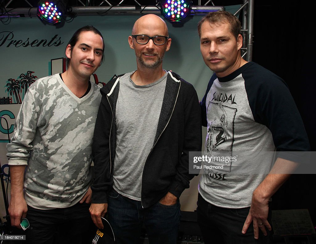 Musician Dhani Harrison, musician Moby and artist Shepard Fairey speak on Keynote Panel: Innovators at Culture Collide 2013 at Taix Restaurant on October 10, 2013 in Los Angeles, California.