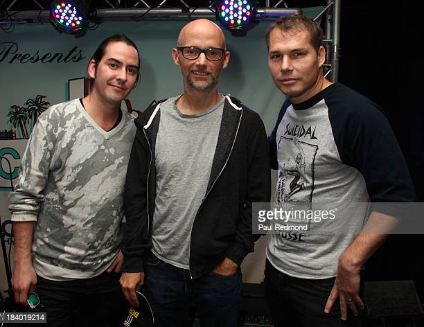 Musician Dhani Harrison, musician Moby and artist Shepard Fairey speak on Keynote Panel: Innovators at Culture Collide 2013 at Taix Restaurant on...