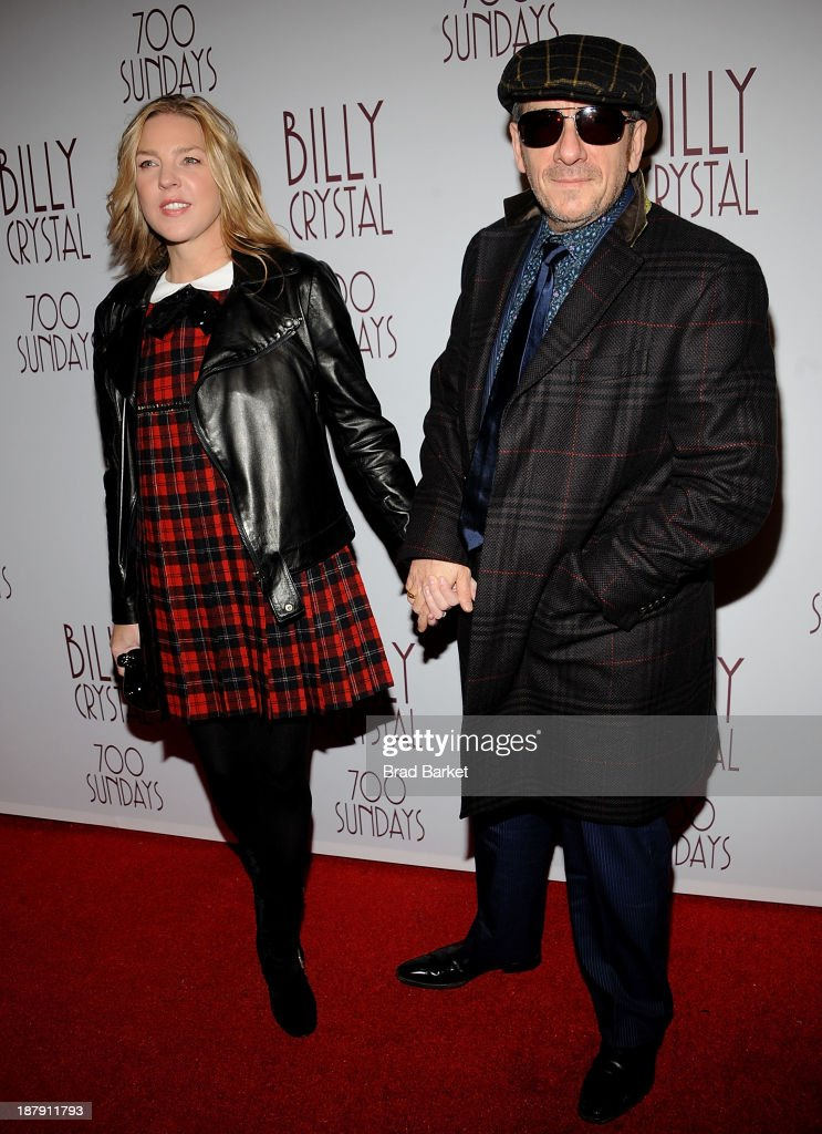 Musician Diana Krall (L) and Elvis Costello attend Billy Crystal's '700 Sundays' Broadway opening night at Imperial Theatre on November 13, 2013 in New York City.