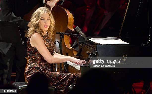 Musician Diana Krall performs during the Academy of Music 155th Anniversary Concert ball at the Academy of Music on January 28 2012 in Philadelphia...