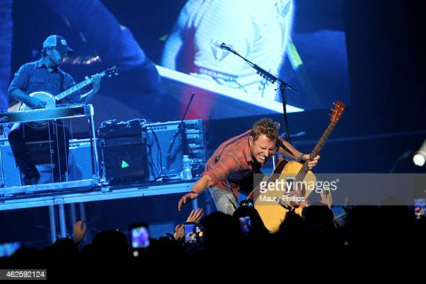 Musician Dierks Bentley performs onstage during CBS Radio's The Night Before at US Airways Center on January 31 2015 in Phoenix Arizona