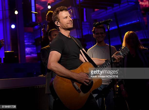 Musician Dierks Bentley rehearses onstage during the 51st Academy of Country Music Awards at MGM Grand Garden Arena on March 31 2016 in Las Vegas...