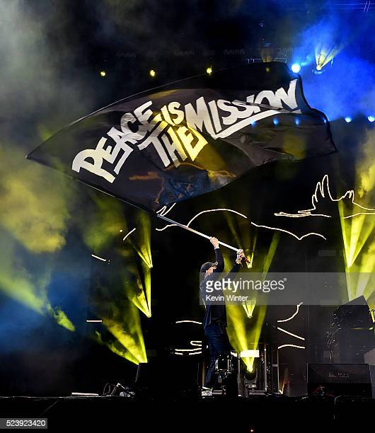 Musician Diplo of Major Lazer performs onstage during day 3 of the 2016 Coachella Valley Music Arts Festival Weekend 2 at the Empire Polo Club on...