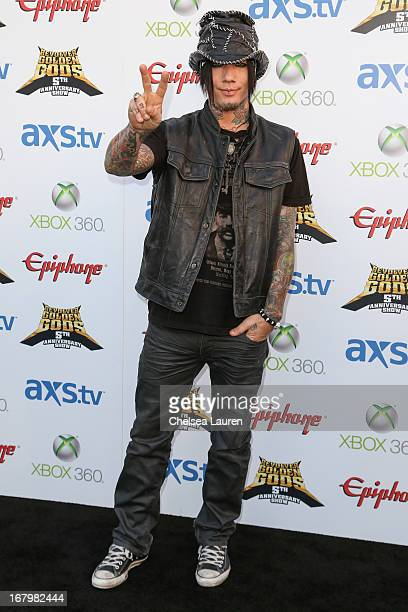 Musician DJ Ashba of Sixx AM arrives at the 5th Annual Revolver Golden Gods awards show at Club Nokia on May 2 2013 in Los Angeles California